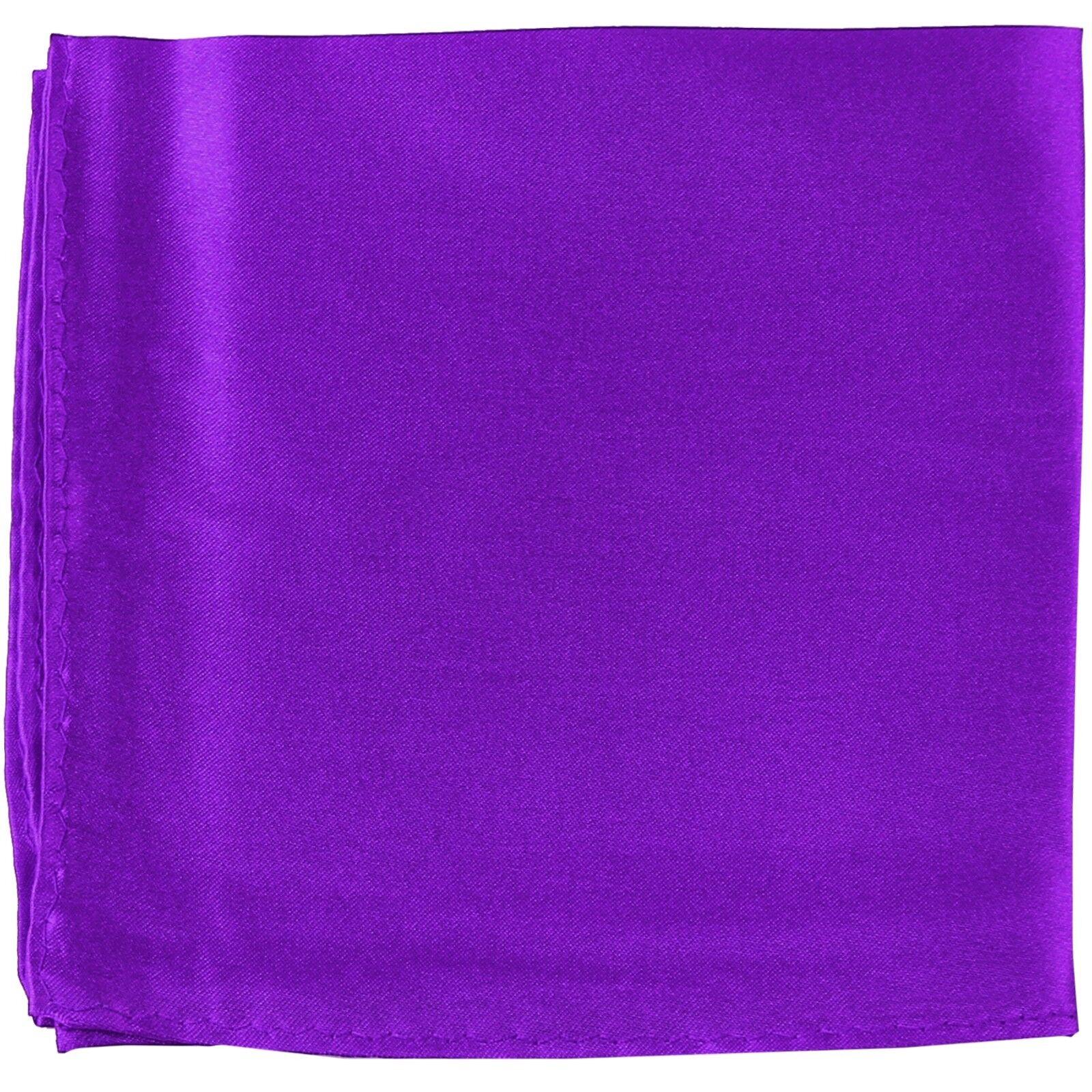MANZO Men's Polyester Shiny Finish Pocket Square Hankie Only Purple