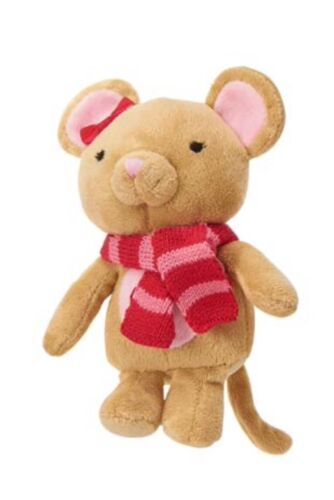 Gymboree Snow Cozy Plush Mouse Scarf Stuffed Animal Rattle Toy Infant Baby Girl