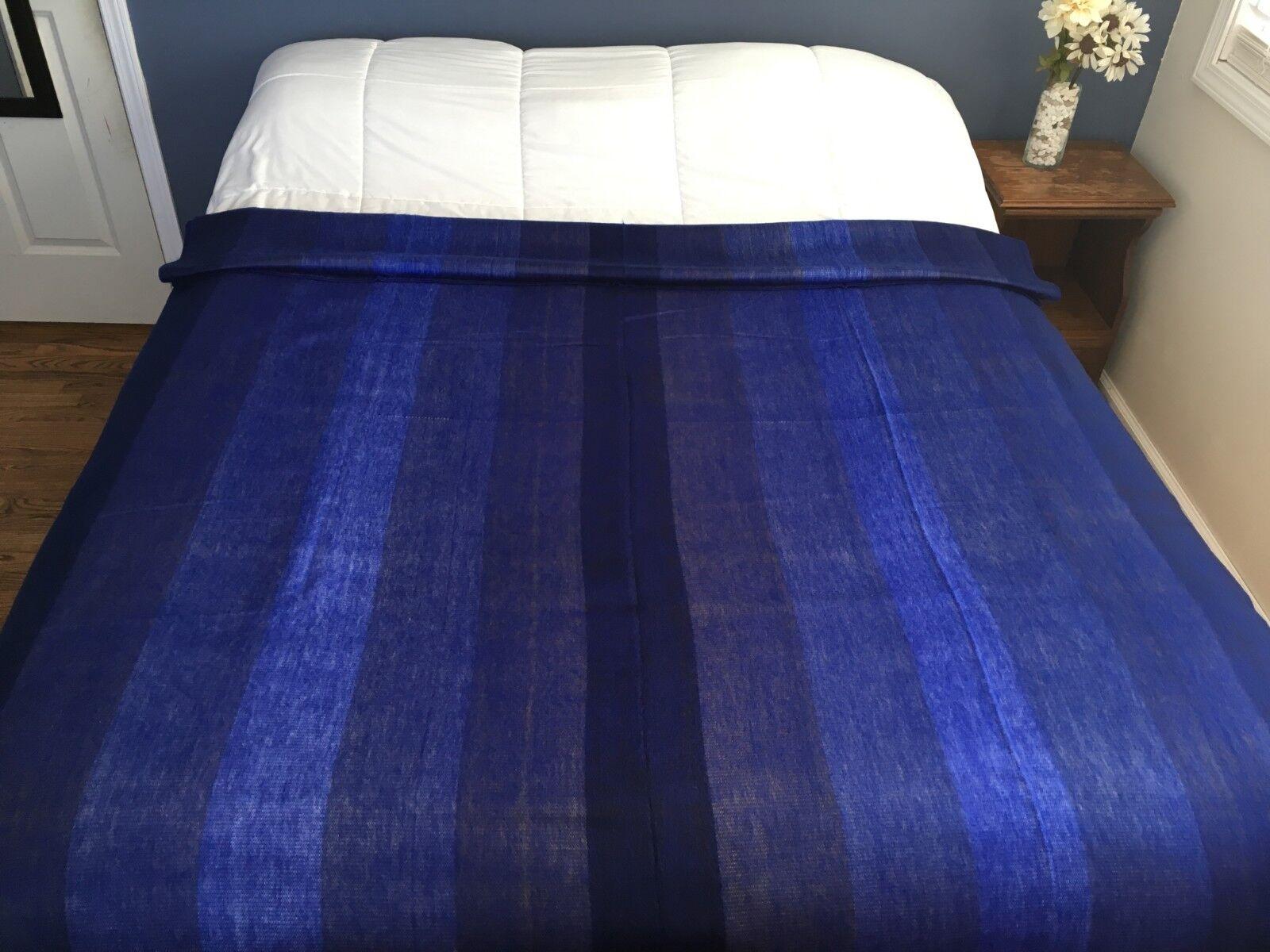 Handmade Alpaca Blanket - Various shades of bluee, Full Queen90  x 70