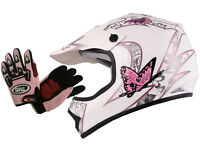 Youth&kids Pink/white Butterfly Dirt Bike Atv Helmet Mx W/motocross Glovess,m,l
