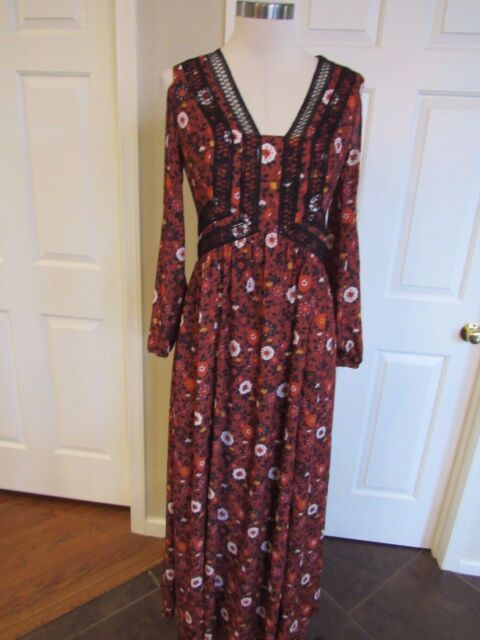 16b3c1183b776 NWT Anthropologie Nanette Lepore Floral Open shoulder Crochet Trim Maxi  Dress S4