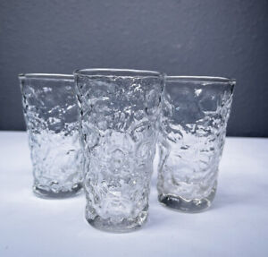 """Vintage Anchor Hocking Lido Milano Clear Glass Juice Glass 4"""" Tall Set of 4"""