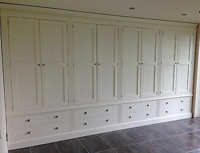 Painted 8 Door Wardrobe with fluting detail over 8 drawers