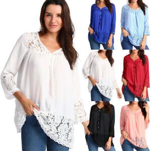 Ladies-Women-Summer-Loose-Casual-Chiffon-Long-Sleeve-Lace-T-Shirt-Tops-Blouse