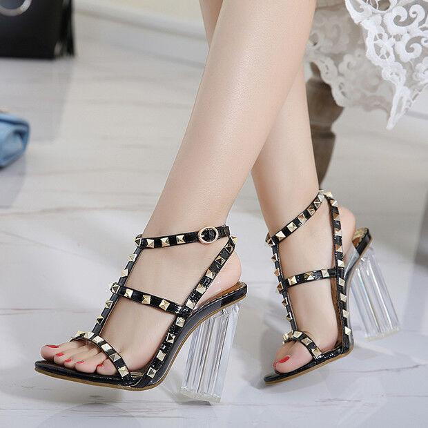 Sandalias elegantes talón cuadrado 9.5 cm negro negro negro tachuelas como piel 9704  garantizado