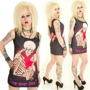 BLACK-MINI-DRESS-TRUE-LOVE-SKELETON-LONG-VEST-TOP-GOTHIC-ALTERNATIVE-SKULL-EMO