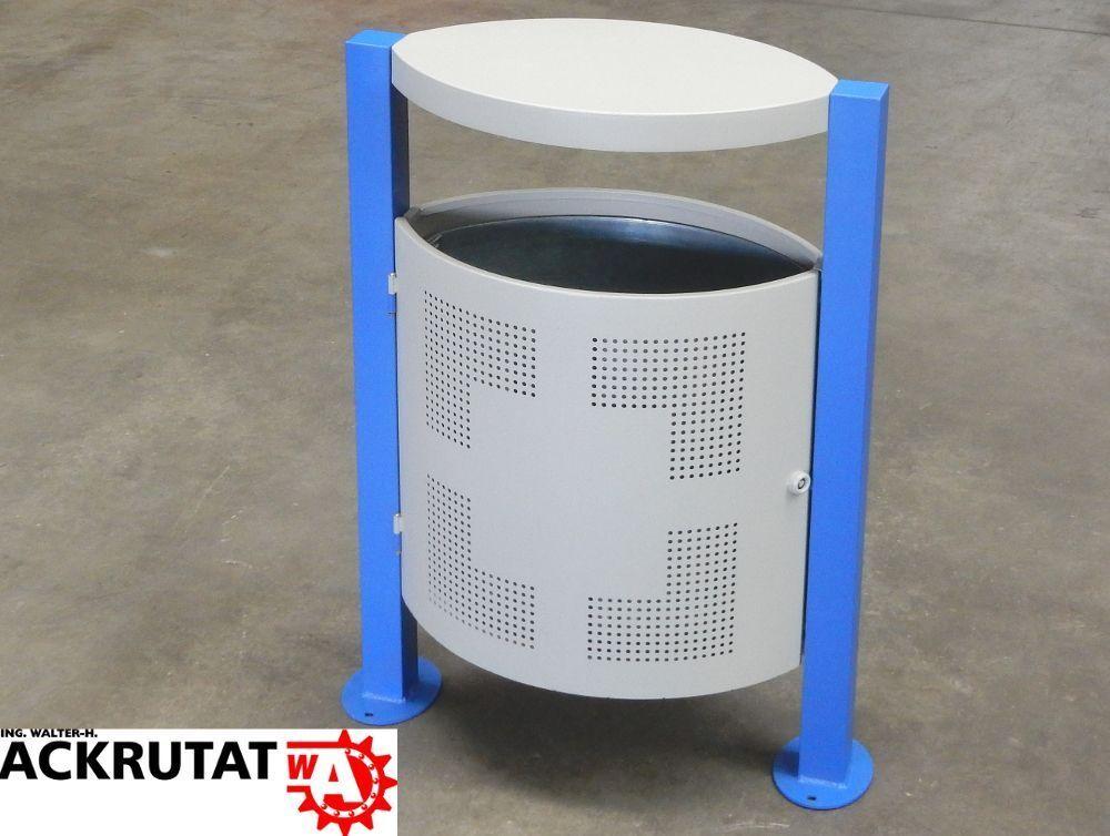 Abfalleimer outdoor Stand-Abfallbehälter abschließbar Stahl Inneneimer verzinkt