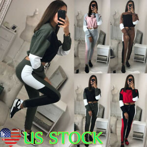 d682e4e96d Women Color Block Long Sleeve Suit Sport Wear Casual Outfit Crop ...