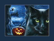 Black Cat Halloween Print Enchanted Castle from an original by I Garmashova