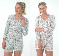 ADULTS WOMENS LADIES  SHORT long sleeve pyjamas   ONESIE  ALL IN ONE PLAYSUIT
