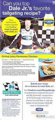 Generous 2012 Dale Earnhardt Hellman's Tailgate Charlotte Nascar Thinstock Handout Jr