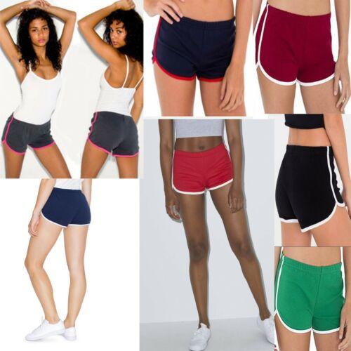 Women/'s Interlock Shorts Retro Running Fitness Gym Yoga Sport  American Apparel
