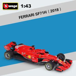 Bburago-1-43-DIECAST-MODEL-2018-FERRARI-F1-SF71H-7-Kimi-Raikkonen-voiture-de-course
