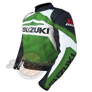 SUZUKI-GSX-MOTARD-MOTO-COURSE-CUIR-VERT-PROTECTION-VESTE-POUR-MOTOCYCLISTE