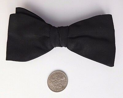 Vintage Tenax black bow tie clip on 1960s plain formal funeral wear English made