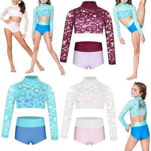 9b0ddd12a937 Girls Kids 2-Piece Dance Fishnet Outfit Crop Top+Bottoms Jazz ...