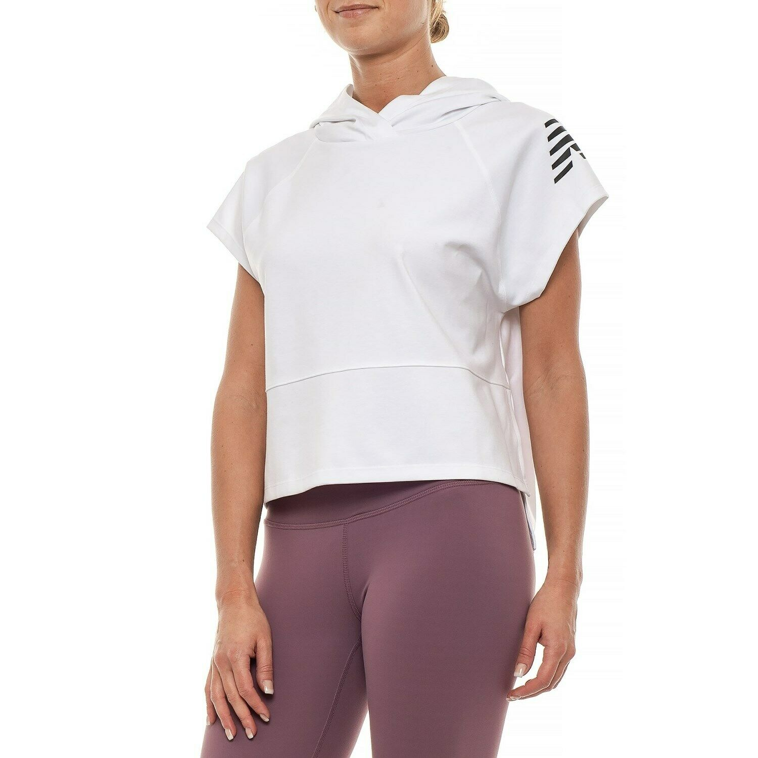 New Balance Women's Short Sleeve Cropped Workout Hoodie - White - S M L- NWT