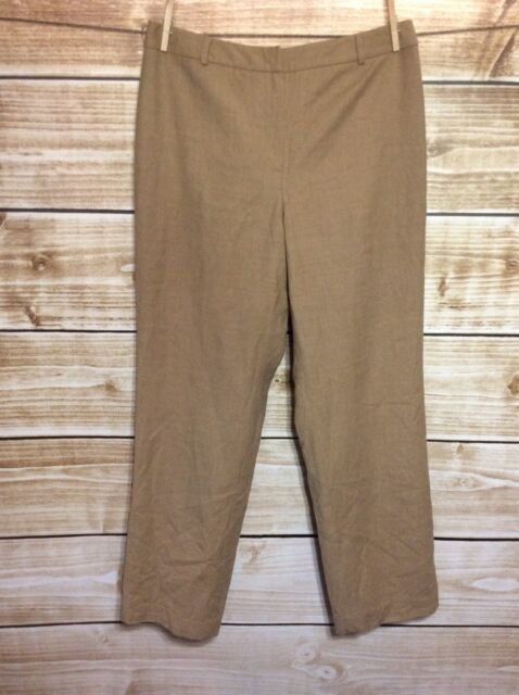 Talbots Wool Blend Stretch Tan Straight Leg Dress Pants Size 12