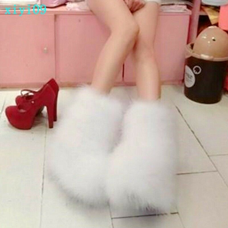 donna Warm Soft Faux Fur Pull On Furry Ankle stivali Winter Snow Casual scarpe