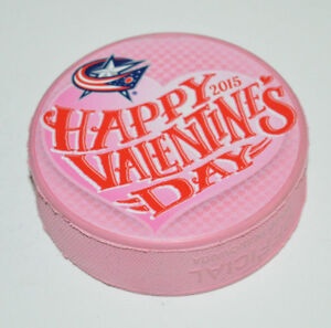 COLUMBUS-BLUE-JACKETS-Happy-Valentine-039-s-Day-2015-Logo-PINK-COLORED-NHL-PUCK