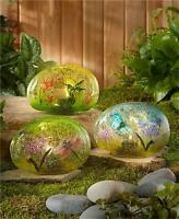 Solar Lighted Glass Garden Stone Butterfly Hummingbird Dragonfly Outdoor Decor