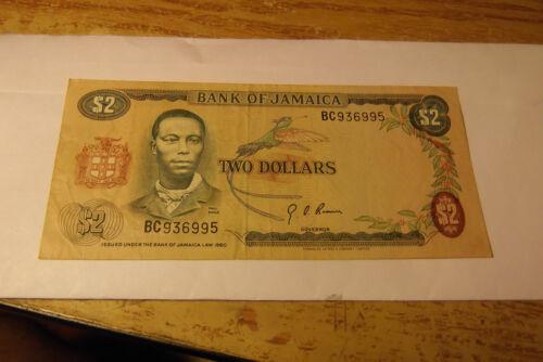1960 BANK OF JAMAICA $2.00 DOLLAR NOTE
