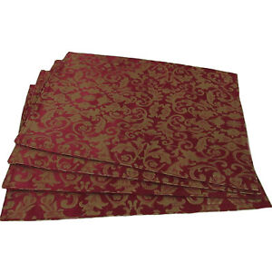 Set-of-4-Damask-Table-Placemats-in-Ruby-Red