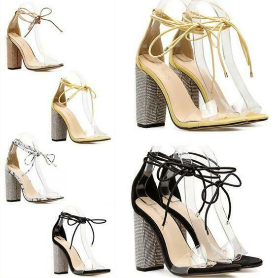 Womens Sandals Open Toe Ankle Strap Clear Super High Block Heel Shoes Rhinestone