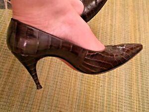 amore vintagetacco Décolleté 7 pelle classico indossato in con vera di alligatore marrone y80vmwOPNn