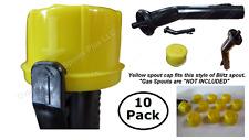 10-Pk BLITZ Yellow Spout Cap FITS self-venting gas can diesel kersosene rotopax