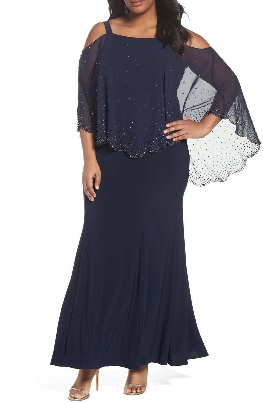 22W  Xscape Embellished Overlay Off the Shoulder Gown