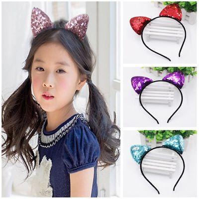 Kids Girls Cat Ears Plastic Headband Hair Band Hair Hoop Cosplay Party Head Hoop