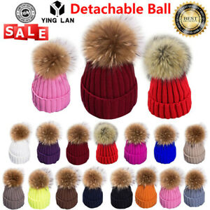 Winter-Womens-Ladies-Warm-Knitted-Real-Fur-Pompom-Beanie-Bobble-Ski-Hat-Cap-Pink