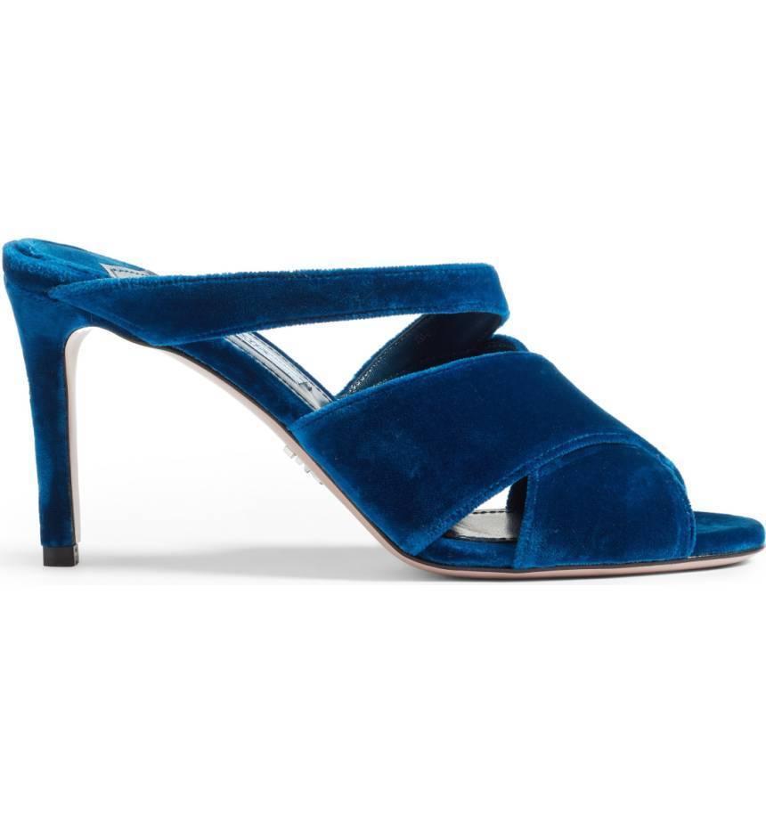 Prada Velvet Sandals Heels shoes 37.5  650