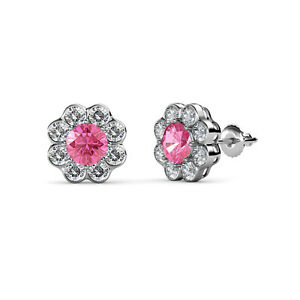 pink tourmaline floral halo stud earrings 2 50