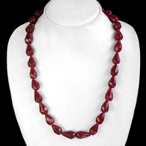 Les Acheteurs plus exigé 338.00 Cts Naturel en forme de poire Rouge Rubis Perles Collier