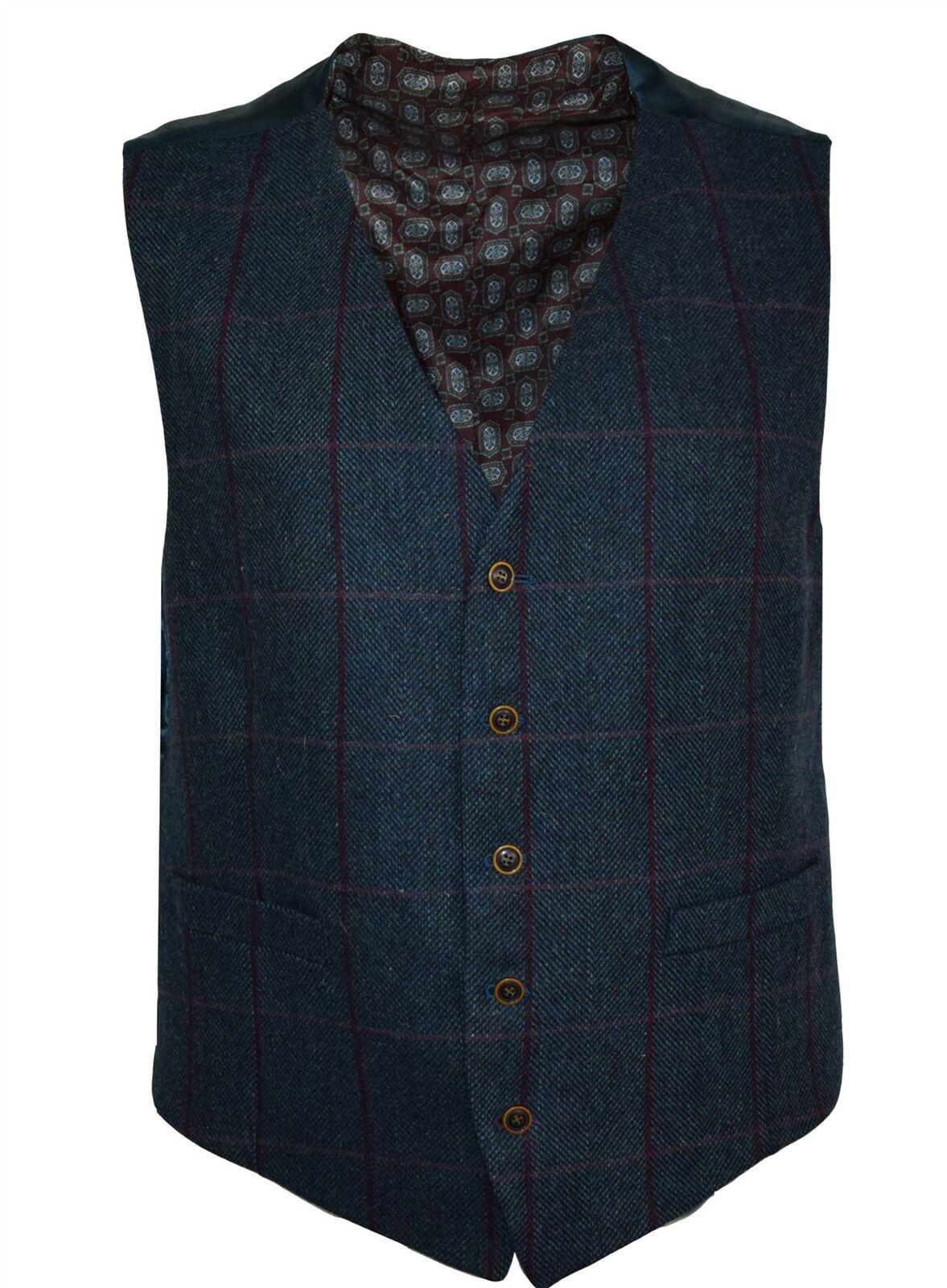 Scott Herren Pure NEU Wolle Fenster kariert Waist Mantel in blaugrün Größen
