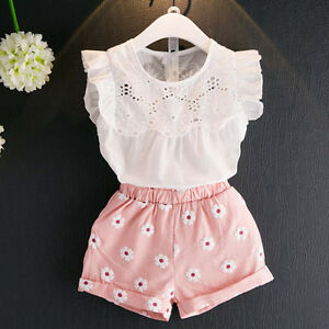 2PCS-Kids-Infant-Baby-Girl-Lace-Shirt-Tops-Floral-Shorts-Pants-Outfit-Clothes-UK