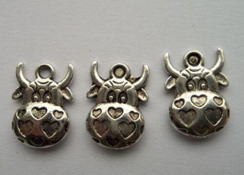 wholesale 20 pcs alloy Tibetan silver cow charm pendant 12x16mm