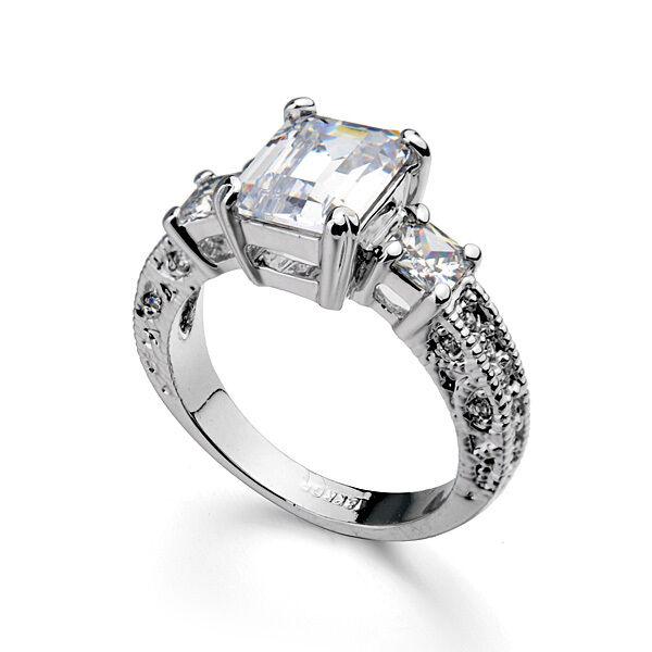 Luxury Women's Ring White Gold 18 K Pl. Crystal Engagement Ring Christmas Gift