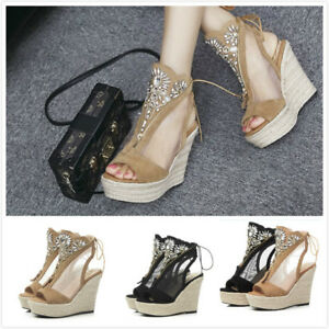 Women-Breathable-Mesh-Suede-Wedge-High-Heels-Peep-Toe-Ankle-Boots-Summer-Shoes