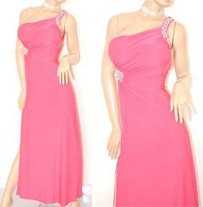 hot sale online 0c4cf e353f Dettagli su ABITO LUNGO donna ROSA FUCSIA vestito da sera MONOSPALLA  cerimonia elegante 60X