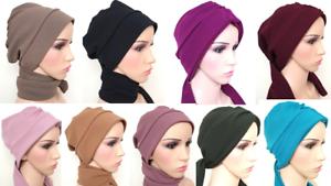 New-multi-way-plain-Turban-hats-underscarf-cap-hijab-stretchy-material-summer