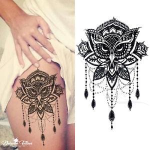 Owl Mandala Temporary Tattoo Lotus Flower Beads Henna Tribal Black