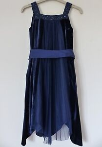 Monsoon-Beautiful-Midnight-Blue-Velvet-Dress-Size-5-6-years-in-Excellent-Cond