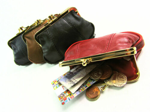Ladies Girls New Quality Genuine Leather Clip Top Purse Wallet Coin Change Pouch