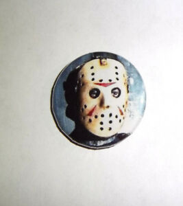 """Friday the 13th 1/"""" Button Pin Lot Jason Voorhees horror slasher classic"""