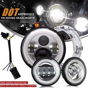 CREE-7-034-LED-Daymaker-Headlight-Passing-Lights-Harley-Davidson-Touring-Road-King