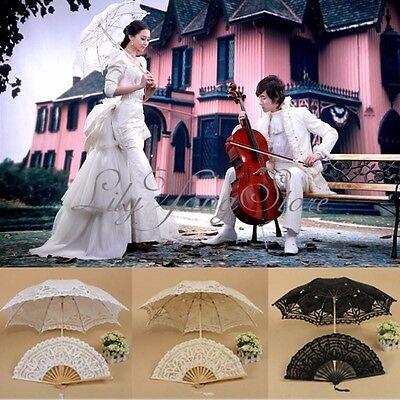 Pretty Cotton Lace Parasol Umbrella + Hand Fan For Bridal Wedding Bridal Party