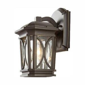 Home-Decorators-1-Light-Bronze-w-Brass-Outdoor-5-75-in-Wall-Lantern-Sconce